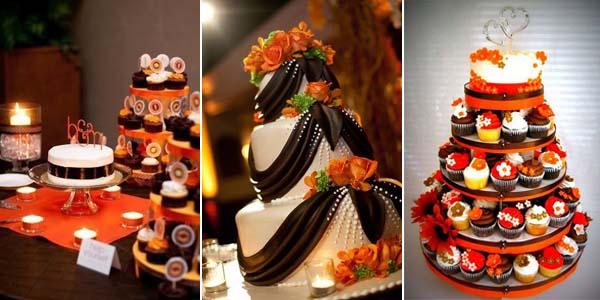 оранжевый и коричневый в свадебной выпечке