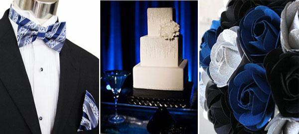 черный и синий в декоре свадьбы