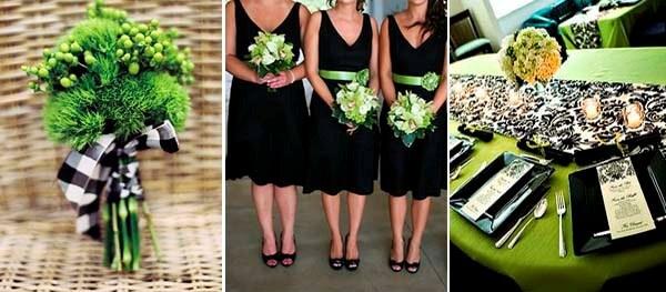 свадьба в черно зеленых тонах