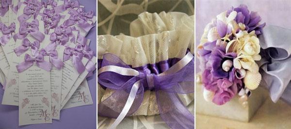 свадебная подвязка в бежево сиреневом цвете