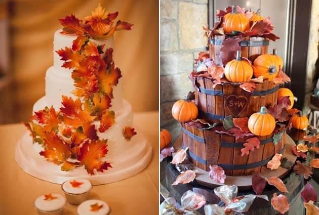 свадебные торты с осенними листьями