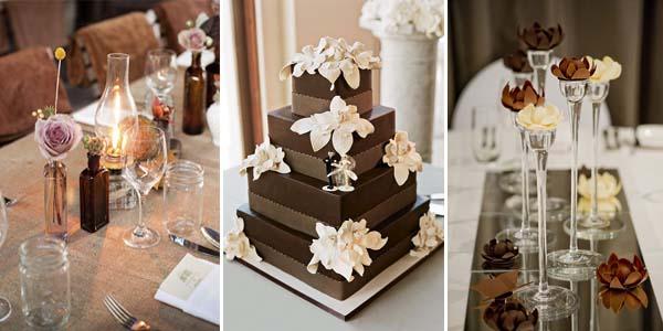 свадебный декор с бежевом шоколадном цвете
