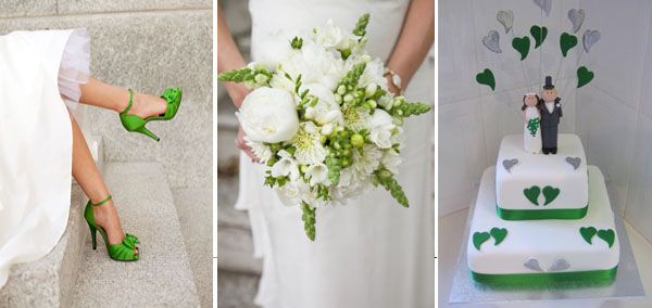 зеленый и белый в образе невесты и торте