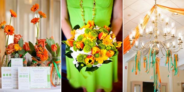 зеленый и оранжевый в свадебном букете