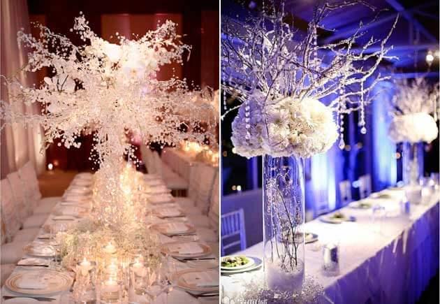 зимний свадебный стол с цветами