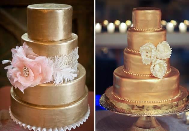 золотые свадебные торты