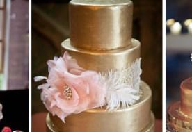 Свадебные золотые торты: сладкое угощение для искушенных