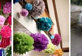 Бумажные помпоны в свадебном декоре: 10 ярких идей!