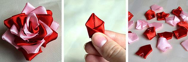 Как сделать двухцветную розу из атласных лент
