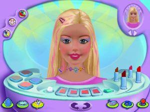 Captura de tela do jogo Maquiagem Virtual da Barbie, uma tela onde há uma bandeja de maquiagem na frente e a personagem Barbie como modelo para a brincadeira.