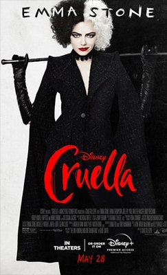Pôster do filme Cruella, que tem o nome da atriz que interpreta a personagem título, Emma Stone, no topo, fundo dividido com as cores preto e branco, como os cabelos que ela apresenta na foto que ocupa toda a imagem. A personagem também usa batom vermelho vibrante e roupa preta elegante, segurando oma bengala apoiada nas costas com as duas mãos. O título também aparece em vermelho, à sua frente.