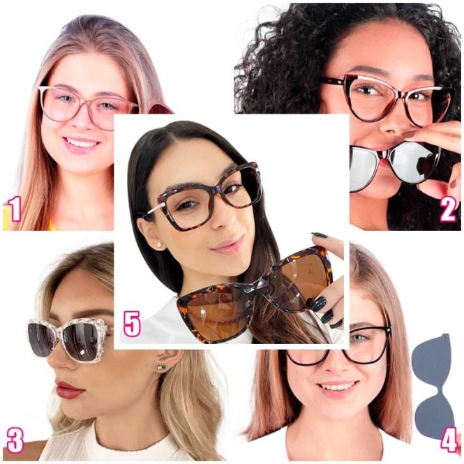 Mosaico contendo cinco óculos de grau 2 em 1, que vem com um encaixe de óculo de Sol por cima. A descrição visual dos modelos está abaixo, no corpo do post.