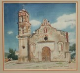 """Taxco Church"" 22x24 inch watercolor by Arthur G. Rider"