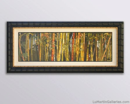 """Bamboo Grove"" 14x44 inch (24x72 inch framed) limited edition giclee print on canvas, enhanced, signed and numbered by artist. Limited edition of 95"