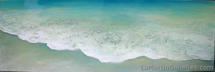 """Summer Mist"" 24x70 inch acrylic, sand, resin on convex wood panel"