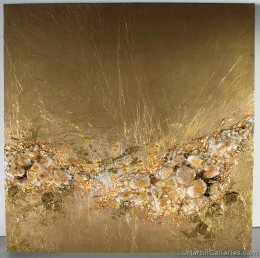 """24 Karat"" 36x36 inch acrylic on panel with citrine agate, quartz"