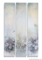 """Fleur de Ladies"" 42x72 inch triptych, acrylic, sand, resin on (3) canvases"