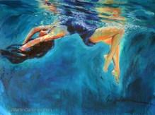 """Liquid Love in Blue"" 36x48 inch acrylic on canvas"