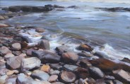"""""""Rocks by the Sea"""" 20x30 in. oil/canvas by Ruo Li - Bronze Medal awarded, Oil Painters of America National Juried Exhibition 2015, Master Signature Division"""