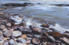 """Rocks by the Sea"" 20x30 in. oil/canvas by Ruo Li - Bronze Medal awarded, Oil Painters of America National Juried Exhibition 2015, Master Signature Division"