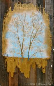 """""""Golden Branches"""" 48x30 inch mixed media with acrylic, 24k gold leaf on reclaimed American redwood"""