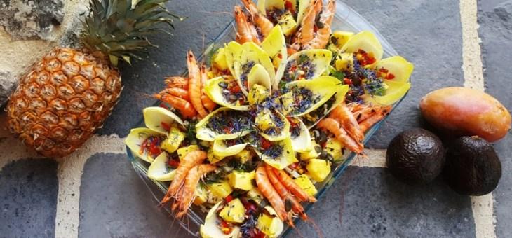 Salade d'endive à l'ananas et aux crevettes