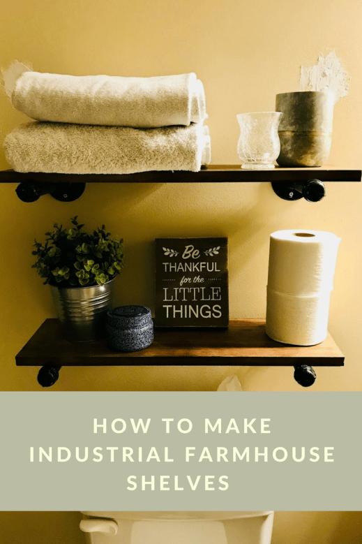 make industrial farmhouse shelves