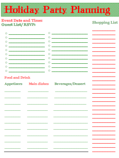 Christmas Party Planner Sheet