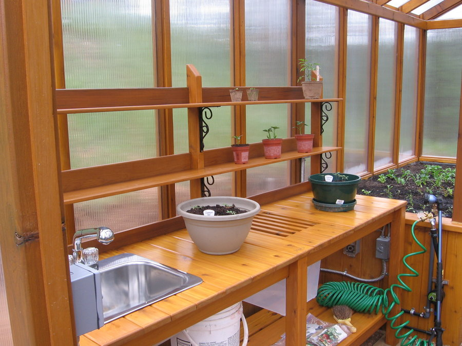 Cedar Greenhouse With Potting Bench By Jhtuckwell