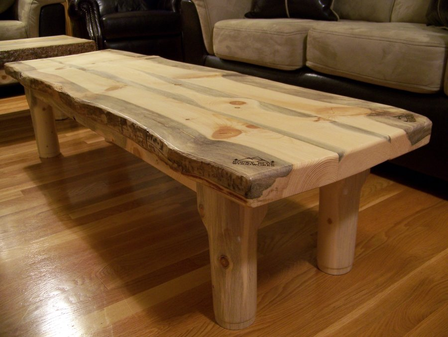Beetle Kill Pine Slab Coffee Table By RockyBlue