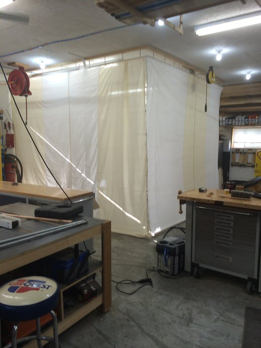Drop Down Spray Booth W Exhaust Fan For Woodshop By Jerry Woodworking