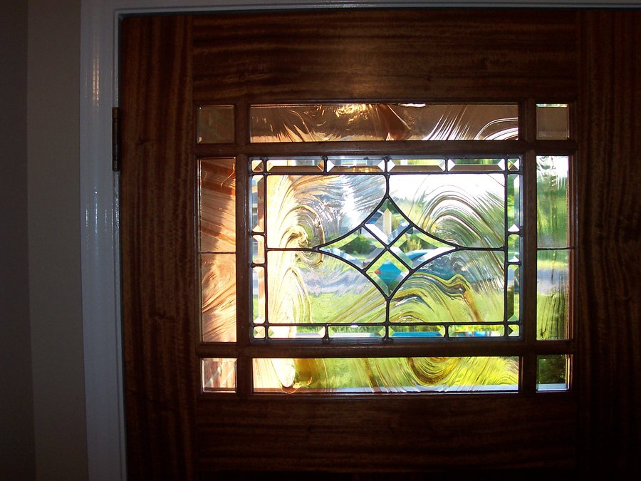 Craftsman Style Entry Door With Cutom Stained Glass Leaded
