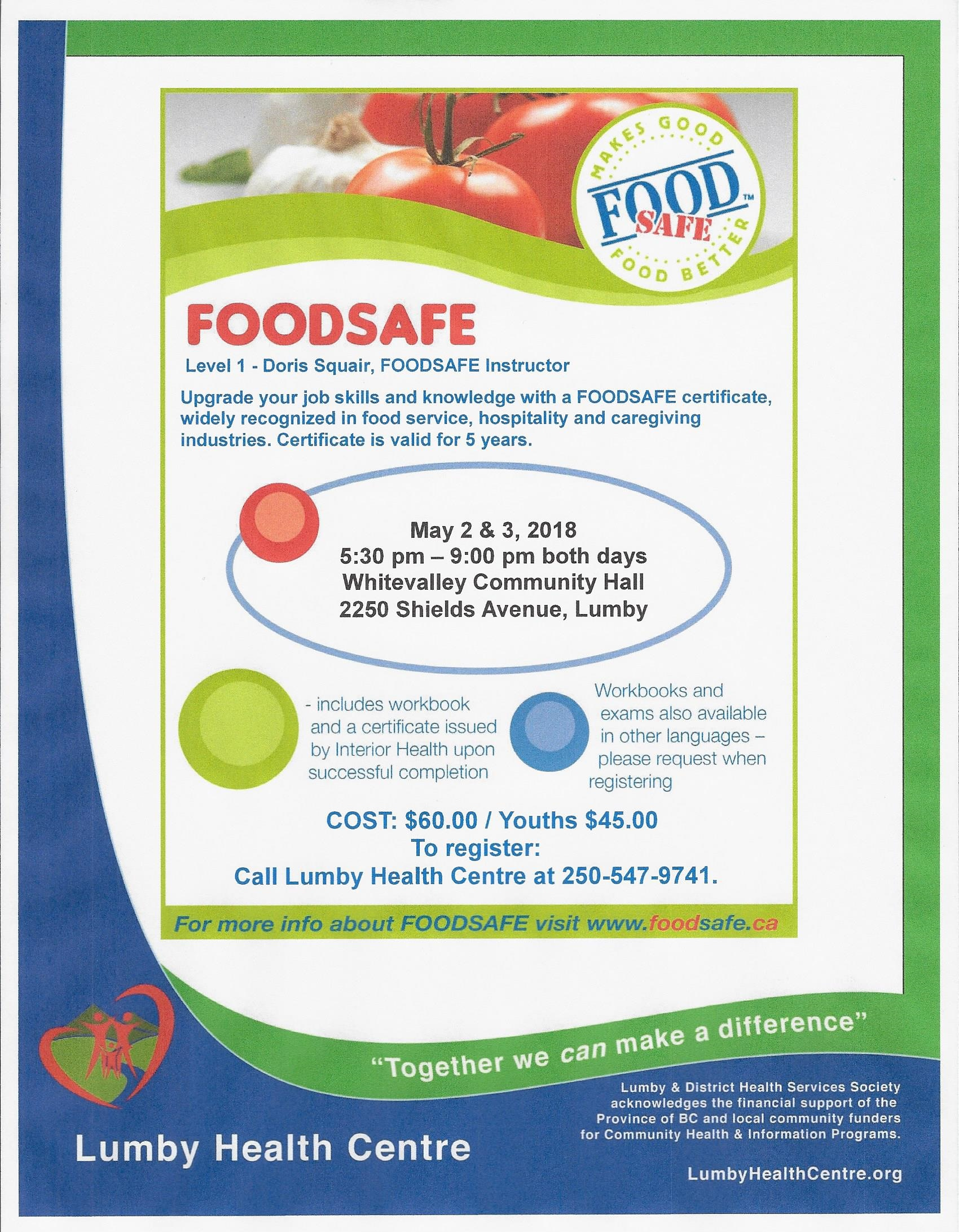 Food safe certification lumbyhealthcentre upgrade your job skills and knowledge with a foodsafe certificate widely recognized in food service hospitality and caregiving industries 1betcityfo Gallery