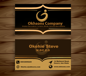 corporate branding business card design for Okhsons