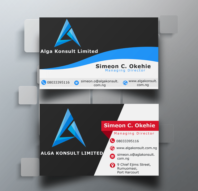 Business card design for Alga Konsult