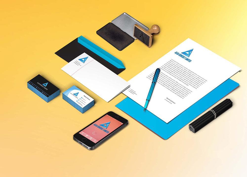 corporate branding and stationery design for Alga