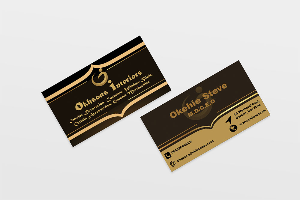 corporate branding and business card design for Okhsons