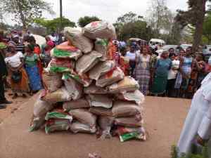 Food items donated by the bishop to the IDP