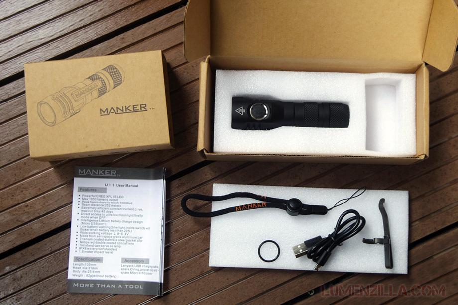 unboxing manker quinlan u11 flashlight 18650 1000 lumens
