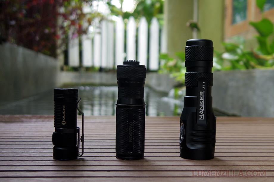olight s1 baton novatac 120t manker quinlan u11 flashlight size comparison