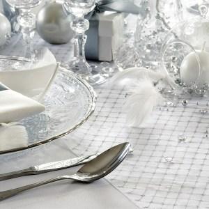 Hvid organza med sølvprint