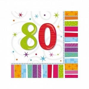 Regnbue farvede servietter 80 år