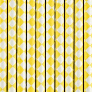 Hvid gule sugerør med firkanter