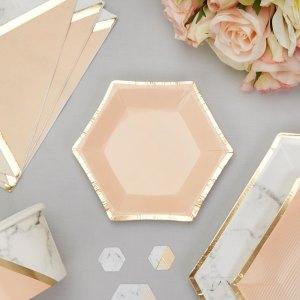 Mini sekskantede tallerkener fersken guld
