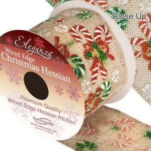 Hessian bånd med julestokke