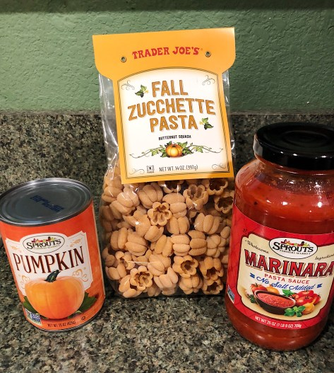 Ingredients for the spicy pumpkin arrabbiata zucchette pasta