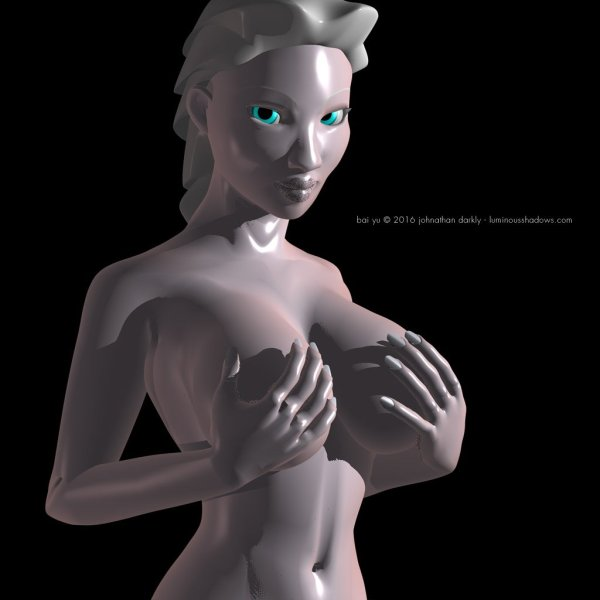 a pale chinese woman with white hair stands nude, cupping her breasts in her hands.