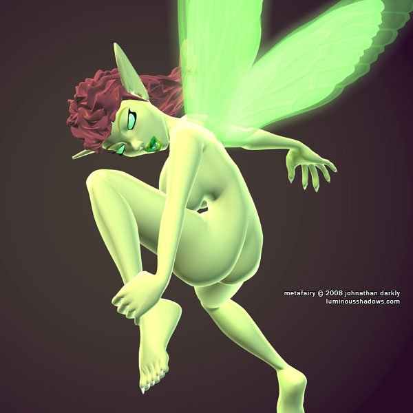 a nude green fairy pulls one leg to her chest as she flies away.