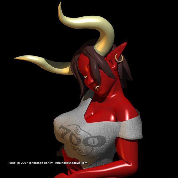 a red-skinned devil woman with large horns and breasts, wearing a croptop.
