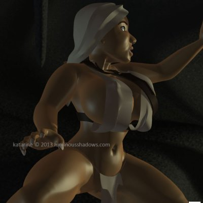 a stocky woman with dark skin and gigantic breasts breathes heavily in a eerily lit cavern.